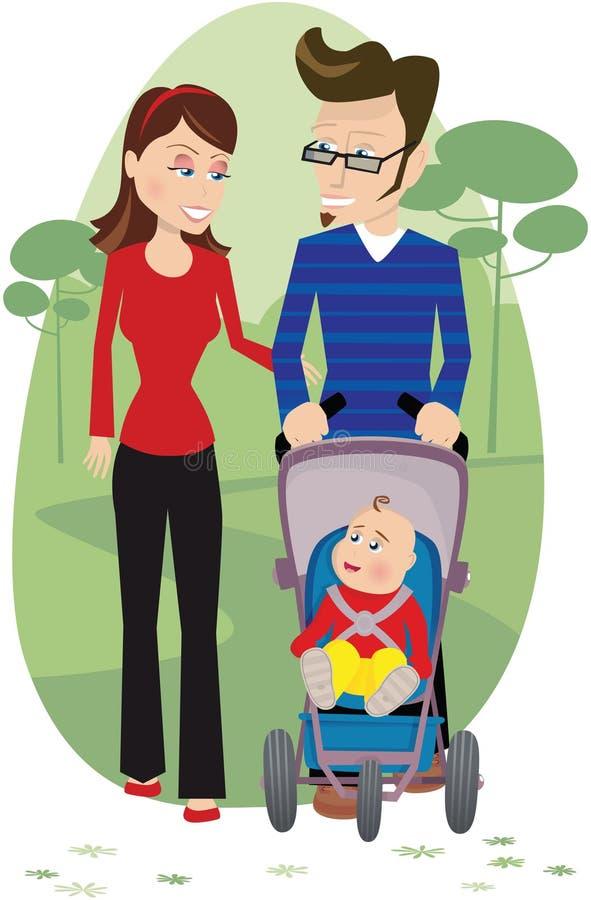 母亲父亲和婴孩在公园 库存例证