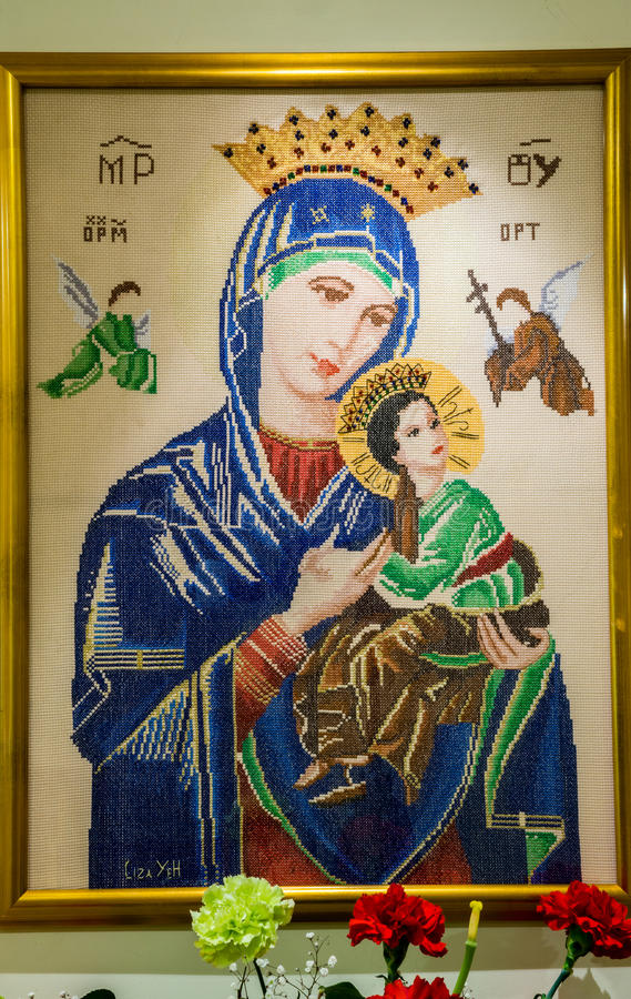 母亲玛丽,永久帮助的母亲发怒针  库存图片