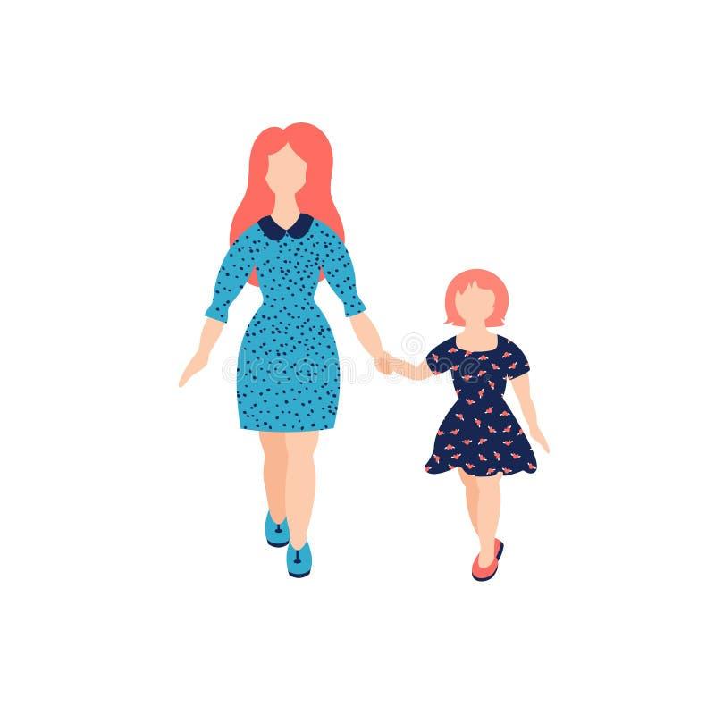 母亲的传染媒介例证有女儿的 母亲节贺卡模板 库存例证