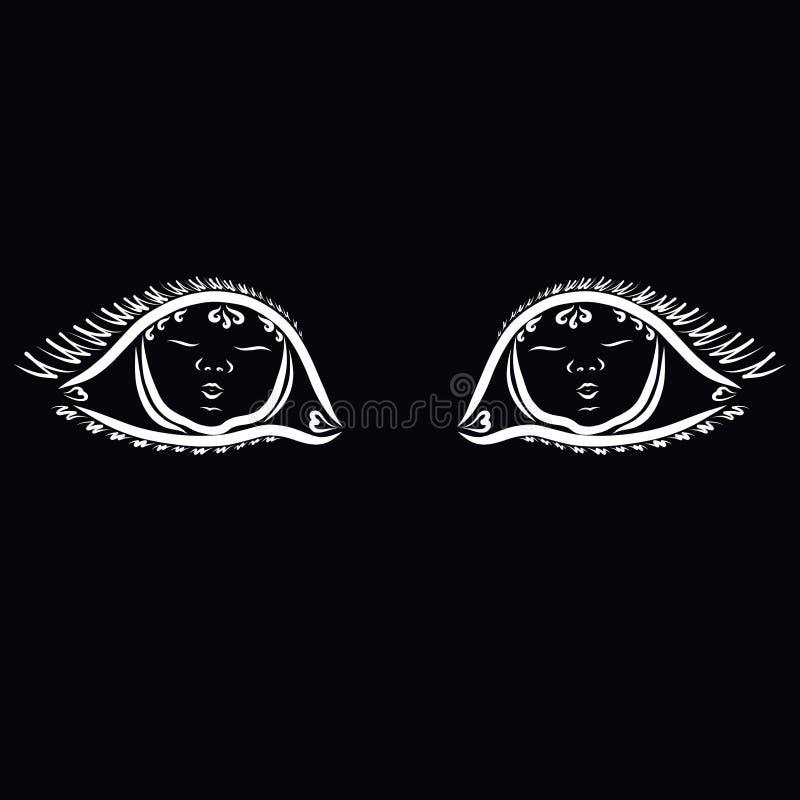 母亲眼睛看出于黑暗的,眼睛的婴孩 皇族释放例证