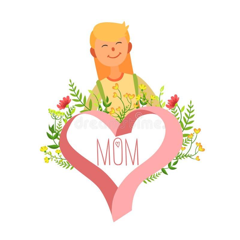 母亲节卡片模板、愉快的美丽的母亲和花卉框架在心脏传染媒介例证形状  向量例证