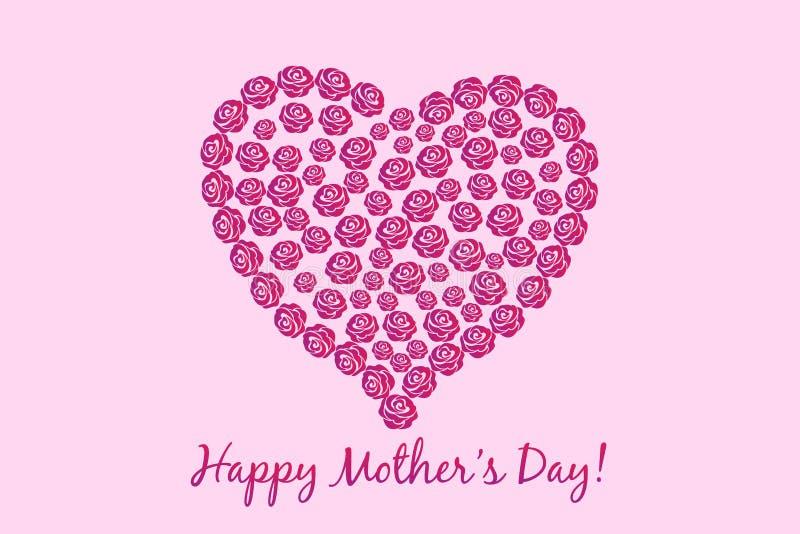 母亲节花心脏卡片传染媒介 向量例证