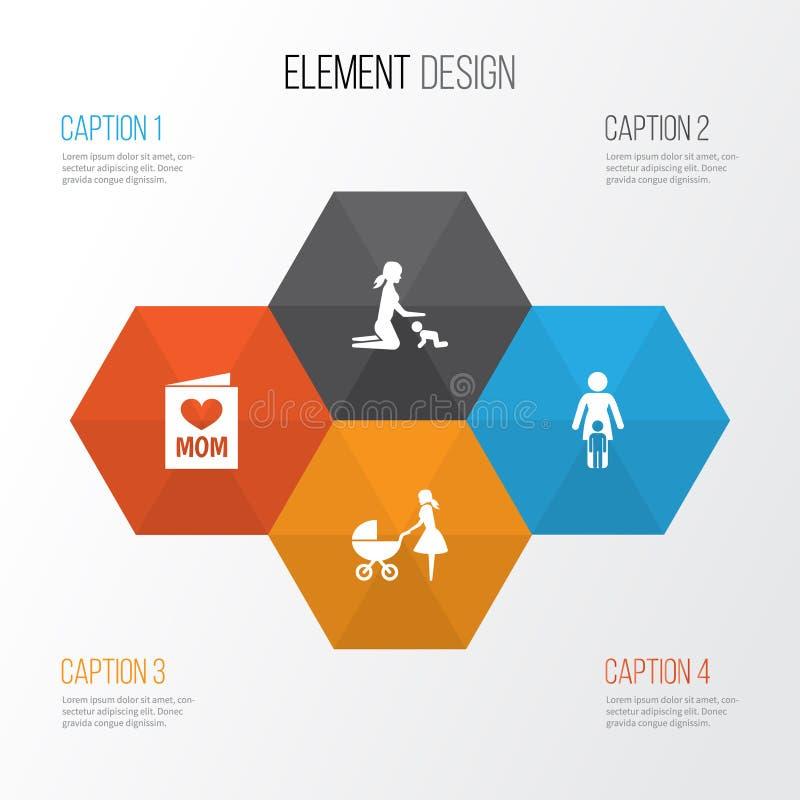 母亲节象设计观念 套4个这样的元素象使用,婴儿推车和联系 婴孩的美好的标志 向量例证