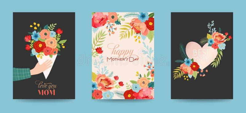 母亲节贺卡设置了与花花束 愉快的母亲节花卉横幅 最佳的妈妈海报,春天庆祝设计 库存例证
