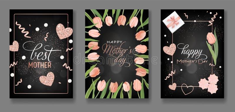 母亲节贺卡设计集合 与郁金香花、礼物和金黄闪烁心脏的愉快的母亲节飞行物海报的 向量例证