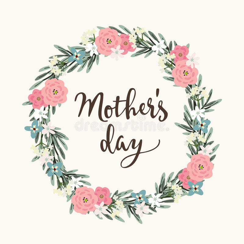 母亲节贺卡,邀请 刷子剧本,书法设计 各种各样花卉的花圈由橄榄叶子制成和 库存例证