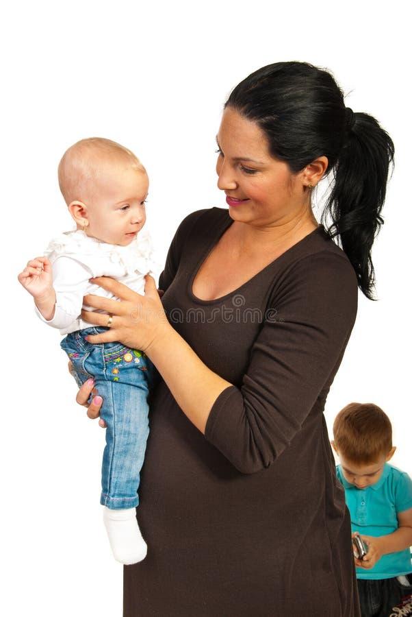 母亲藏品女婴 图库摄影