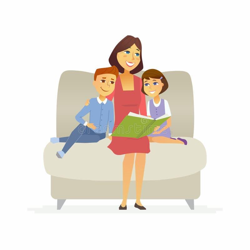 母亲读一个童话-动画片人字符被隔绝的例证 向量例证