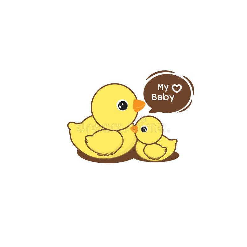 母亲鸭子和鸭子 外籍动画片猫逃脱例证屋顶向量 库存例证