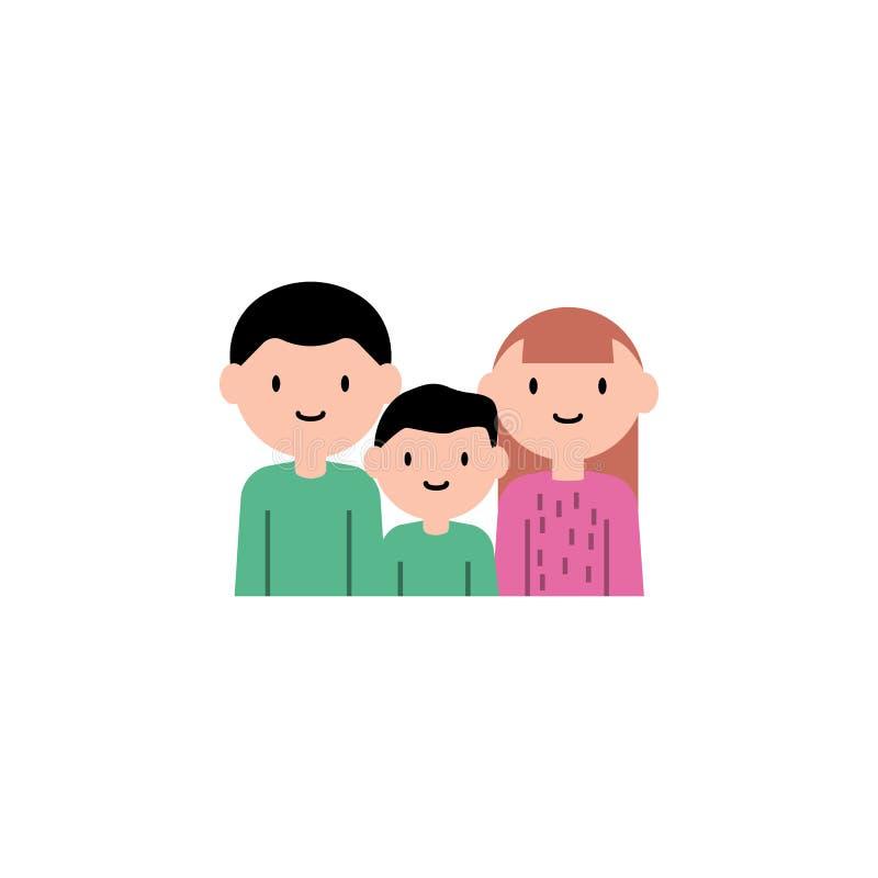 母亲,父亲,儿子动画片象 家庭流动概念和网应用程序的动画片象的元素 详述的母亲,父亲,儿子ico 向量例证