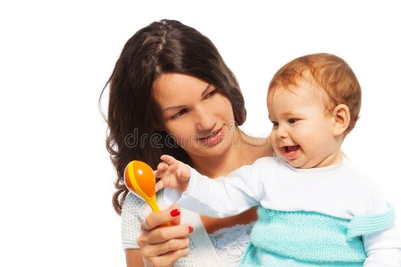 母亲婴孩和吵闹声 图库摄影