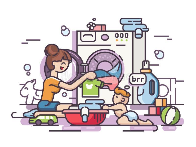 年轻母亲洗涤物 库存例证