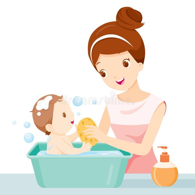 母亲洗涤的婴孩 向量例证