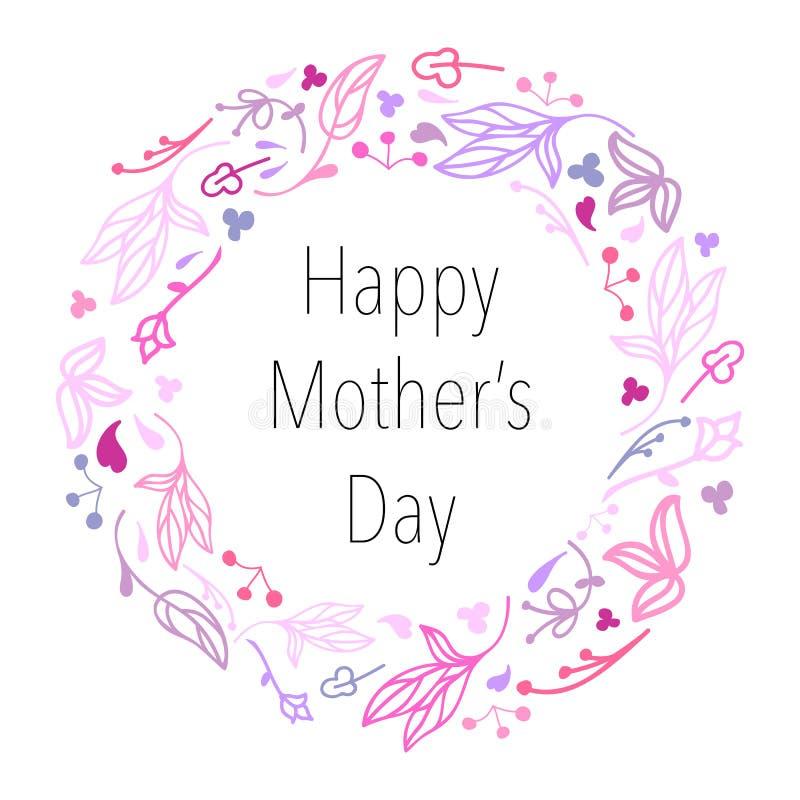 母亲` s天手拉的花卉花圈 库存例证