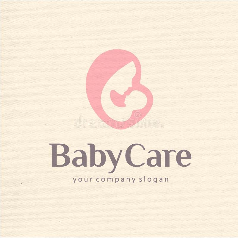 母性和生育子女商标设计  库存例证