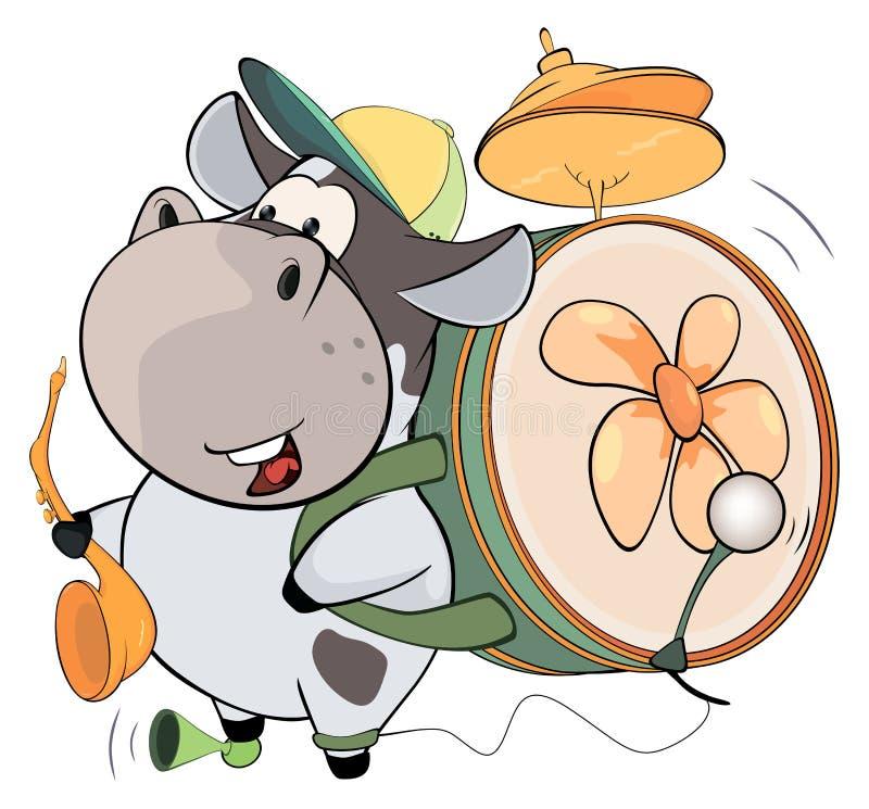 母牛一人带 动画片 皇族释放例证
