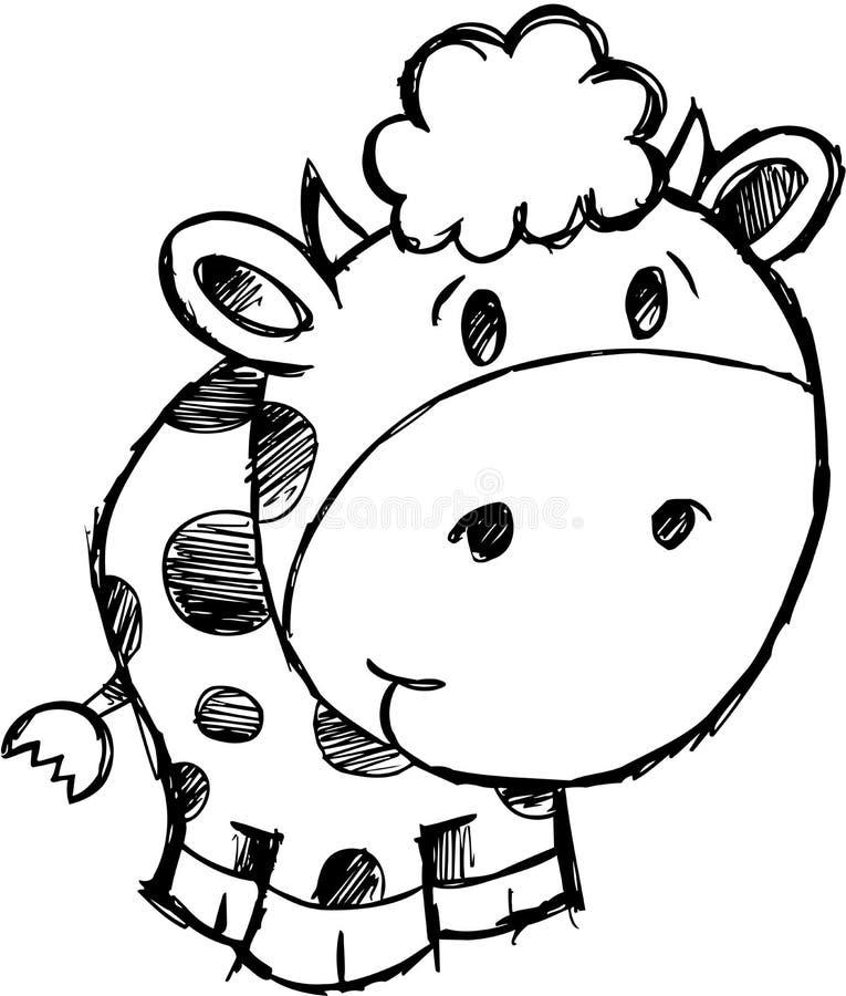 母牛例证概略向量 库存例证