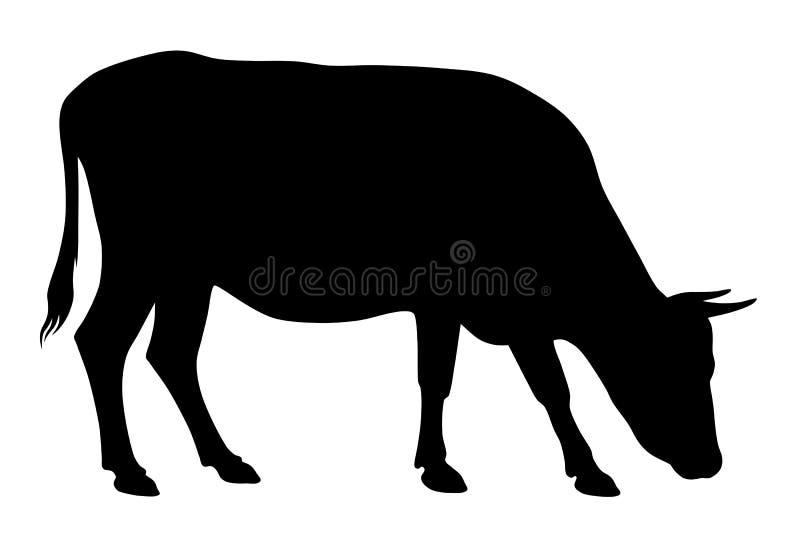 母牛剪影 皇族释放例证