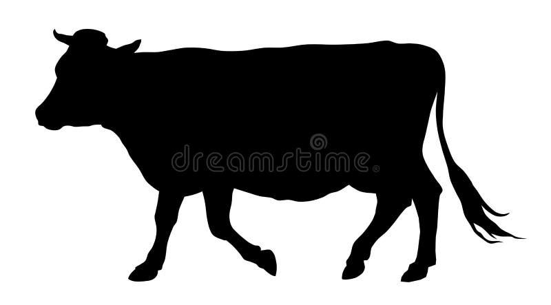 母牛剪影 库存例证