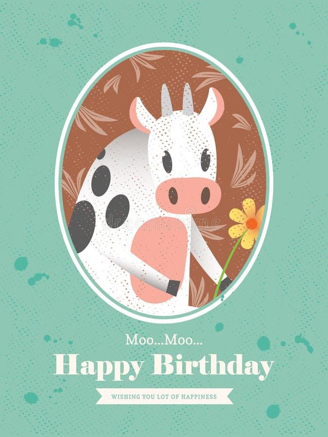 母牛动物动画片生日贺卡设计 向量例证
