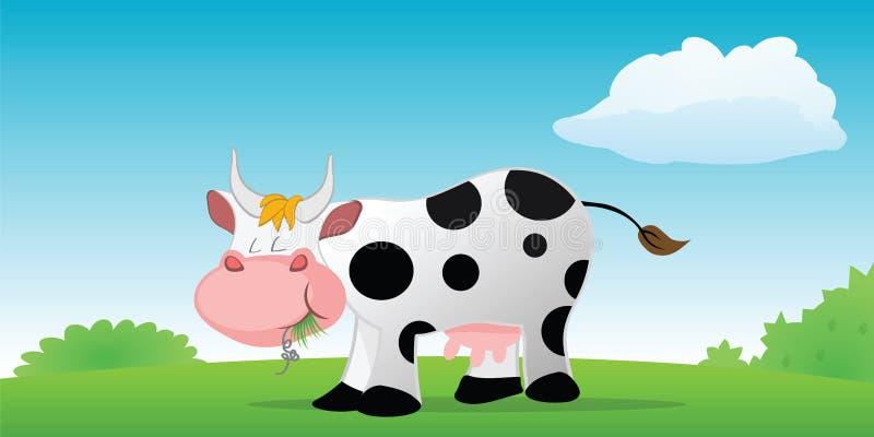 母牛吃 皇族释放例证