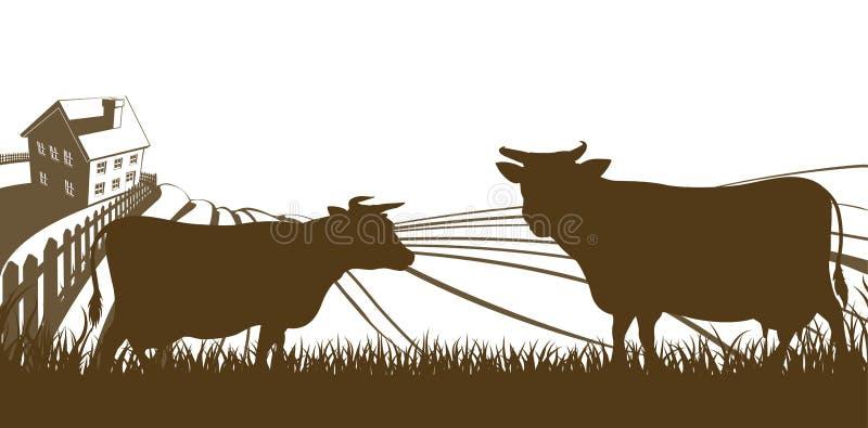 母牛和农厂绵延山风景 皇族释放例证