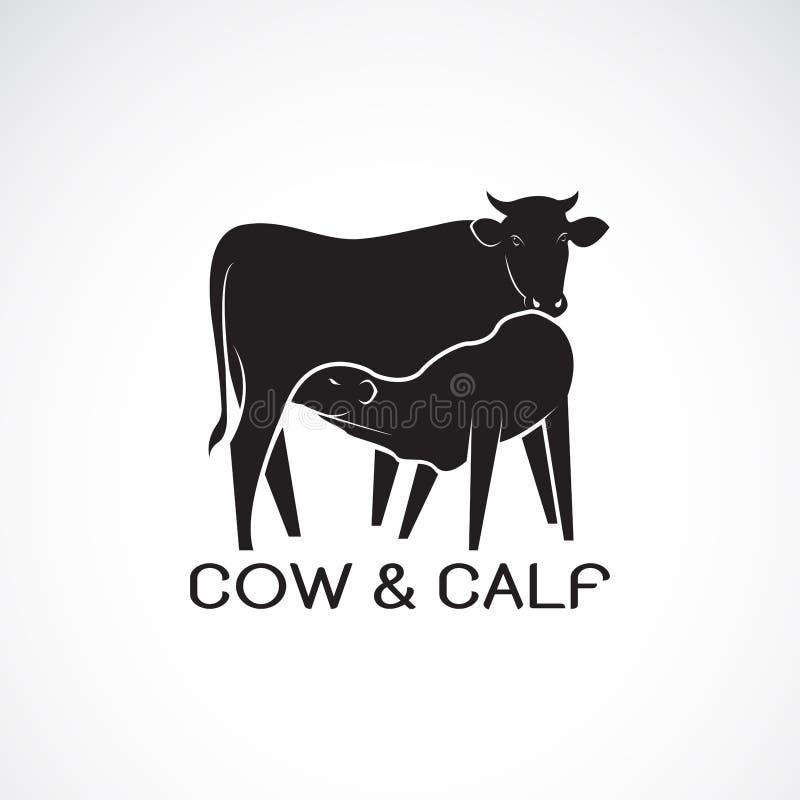 母牛和小牛传染媒介在白色背景 7个动物动画片农厂例证系列 母牛象或商标 小牛吮牛奶 层状的容易编辑可能 库存例证