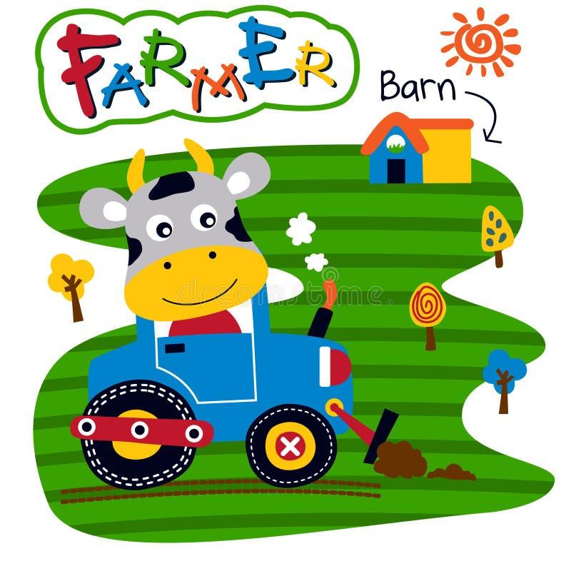 母牛和拖拉机滑稽的动物动画片,传染媒介例证 库存例证
