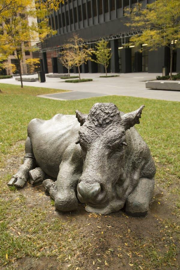 母牛在一个公园在多伦多的市中心,安大略,加拿大雕刻 库存图片
