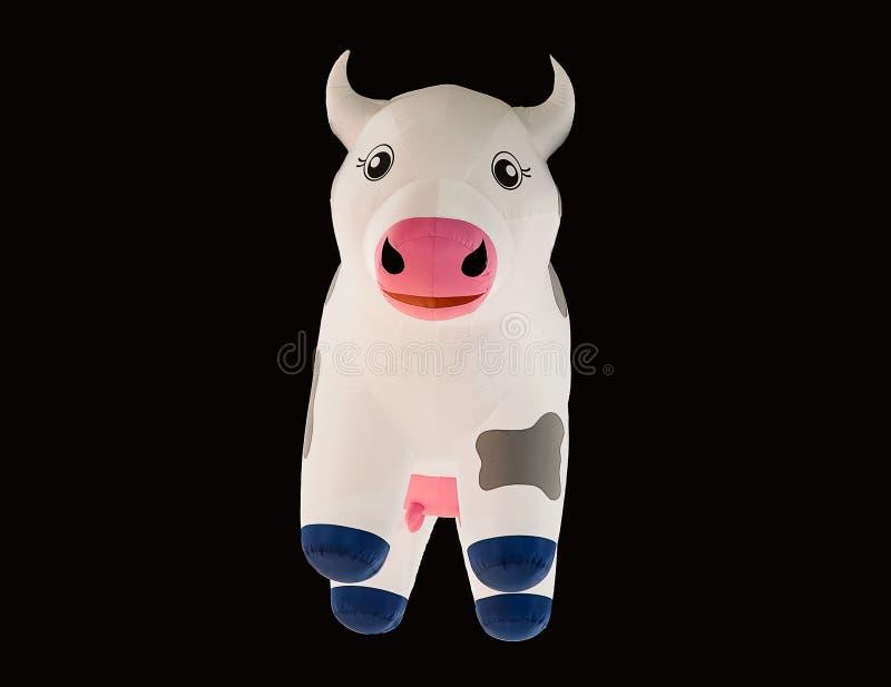 母牛在黑背景隔绝的游泳管 可膨胀的独角兽 幻想夏天水池旅行的游泳圆环 免版税库存图片