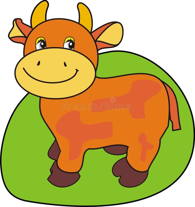 母牛小的草绿色 皇族释放例证