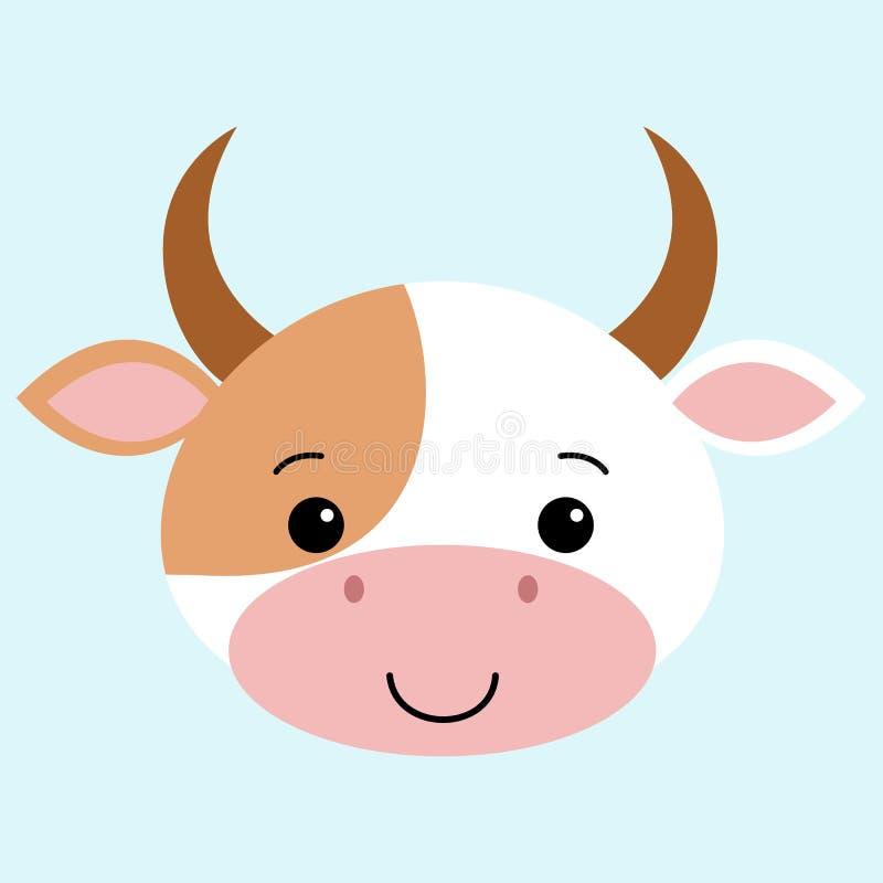 母牛平的动画片样式,逗人喜爱的传染媒介例证滑稽的动物kawaii 向量例证