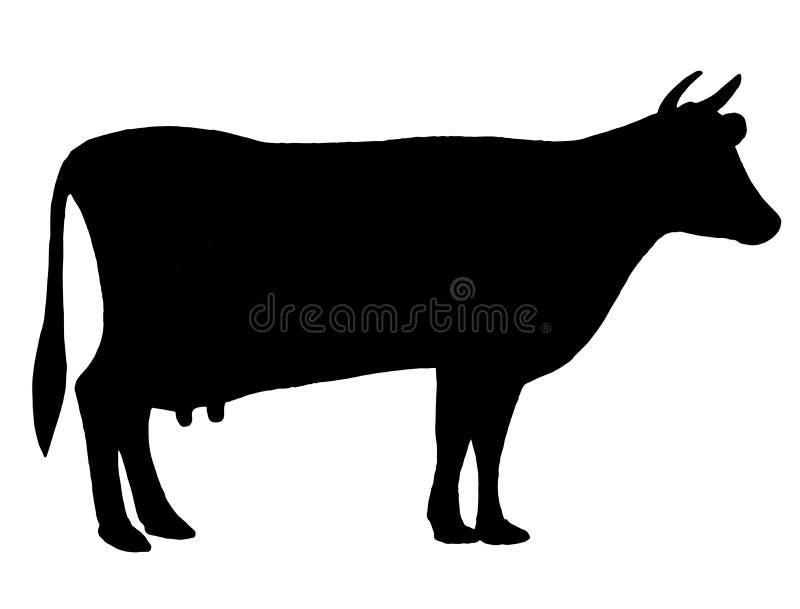 母牛开花前草剪影 牛 电路 农场 妖 黑白用手画 库存图片