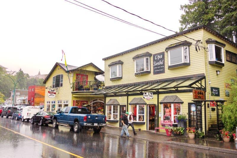 母牛海湾路的,鲁珀特王子港Opa寿司餐厅, BC 免版税库存图片