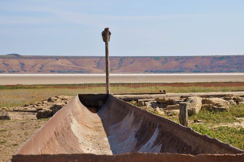母牛的老水槽在Kuyalnik出海口峡湾银行  库存图片