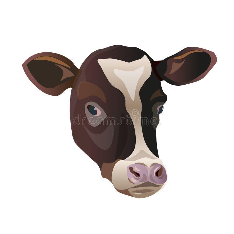 母牛的面孔颜色剪影  向量例证