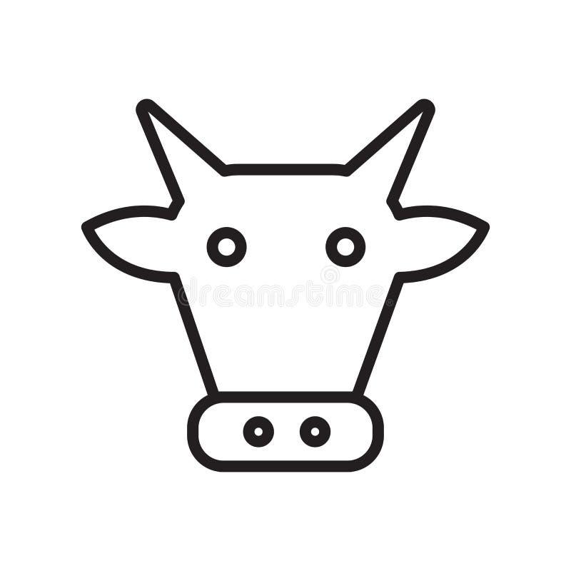 母牛象在白色背景和标志隔绝的传染媒介标志,母牛商标概念,概述标志,线性标志,概述标志, 库存例证