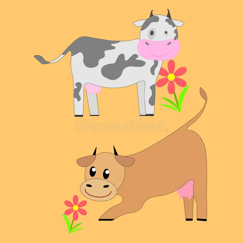 母牛集合 另外心情,不同颜色 一头小牛和一头公牛在集合  皇族释放例证