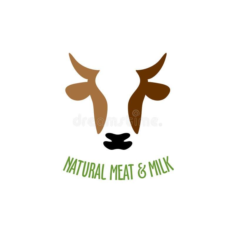 母牛顶头商标 向量例证