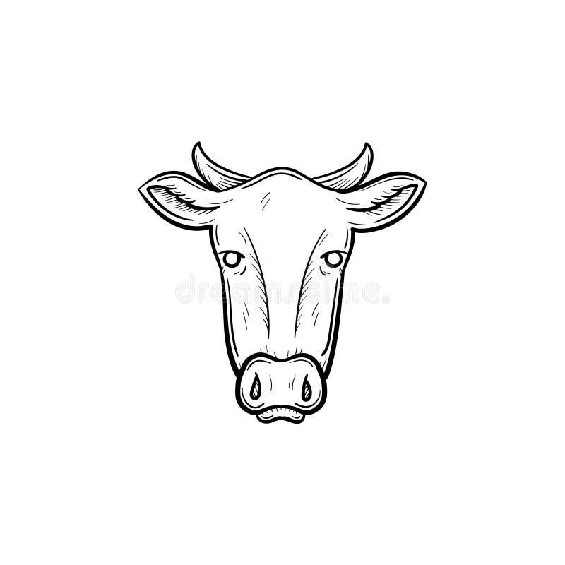 母牛顶头手拉的剪影象 向量例证