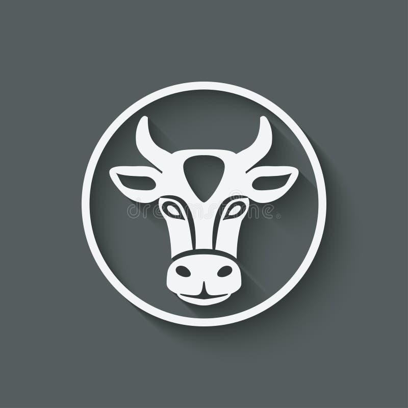 母牛顶头标志 库存例证