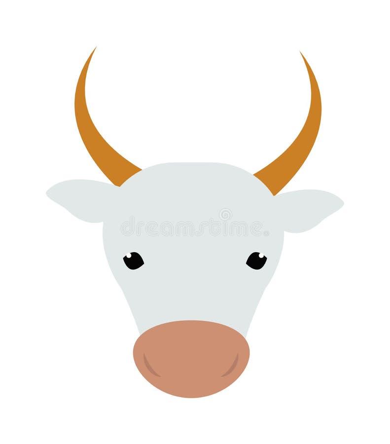 母牛头牲口牛肉哺乳动物的农业牛奶面孔传染媒介例证白色剪影  向量例证