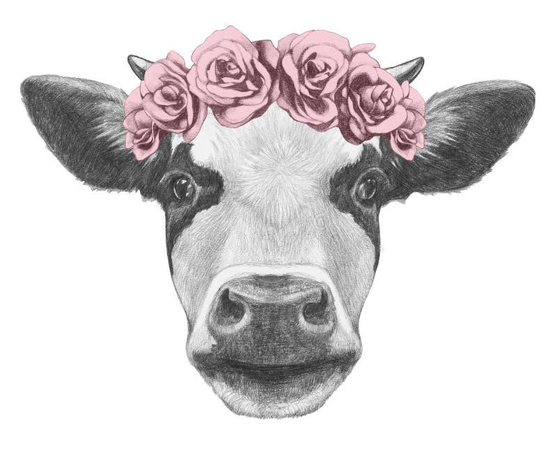 母牛画象与花卉顶头花圈的 免版税库存图片