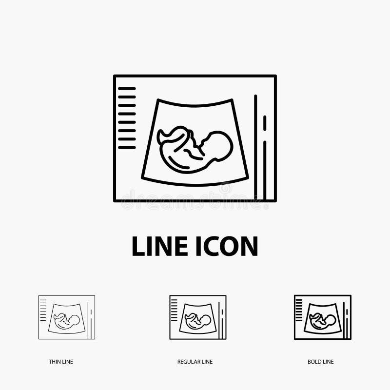 母道,怀孕,语图,婴孩,在稀薄,规则和大胆的线型的超声波象 r 向量例证