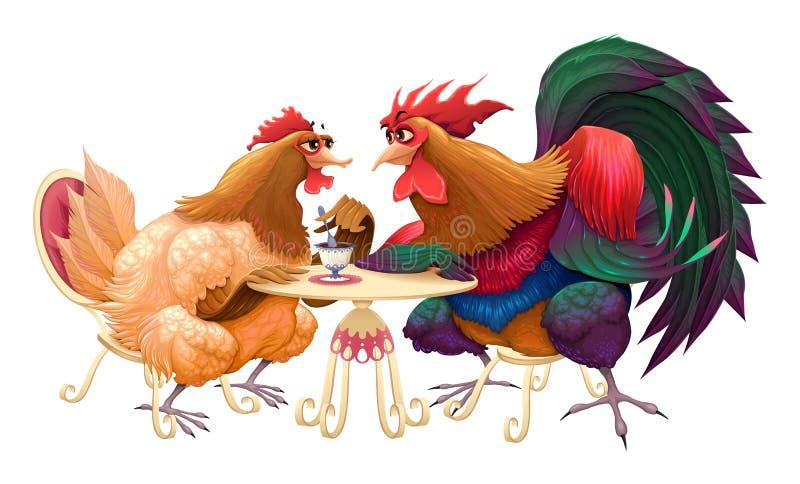 母鸡和雄鸡在咖啡馆 向量例证