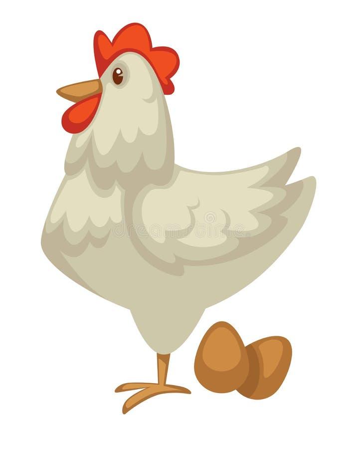 母鸡和鸡蛋种田鸡乳制品和禽畜 库存例证