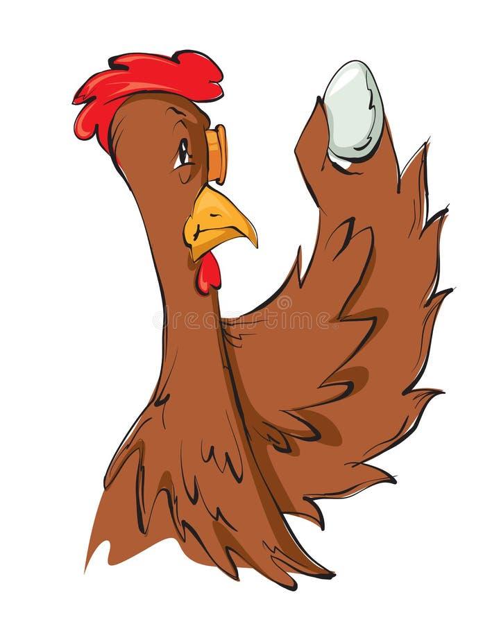 母鸡在鸡蛋的评估时 皇族释放例证