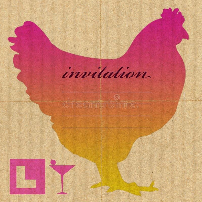 母鸡邀请晚上当事人 向量例证