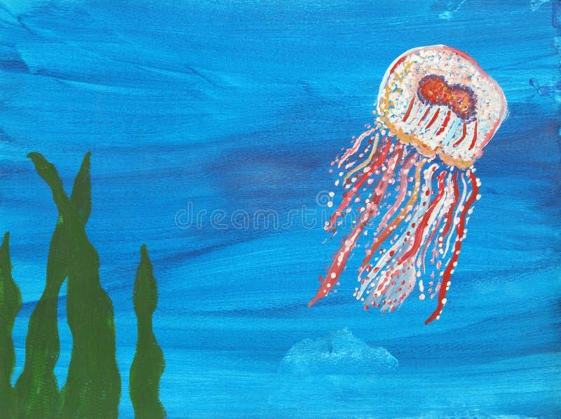 水母绘画 库存图片