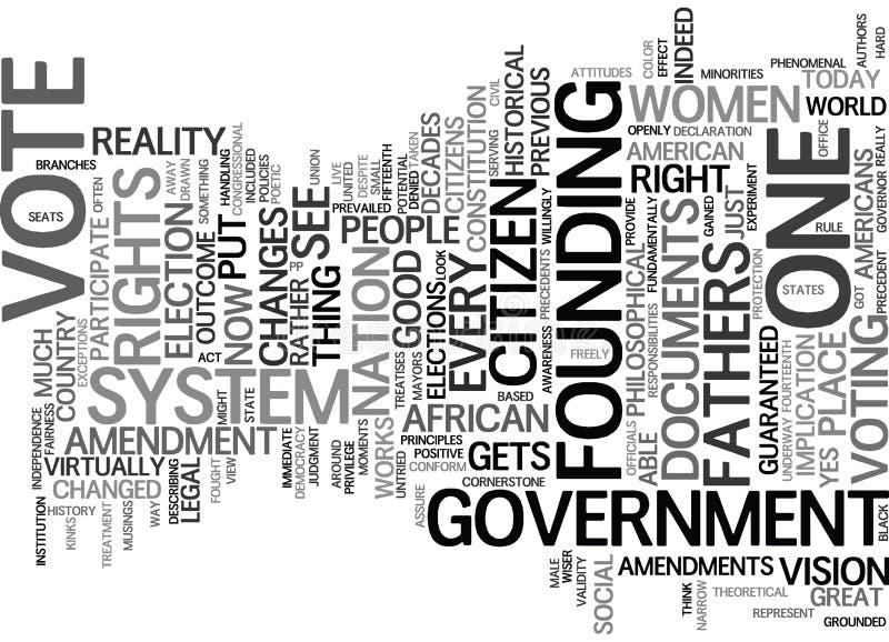 每个公民得到表决文本背景词云彩概念 库存例证